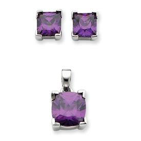 Sterling Silver Purple CZ Pendant & Earring Set. Price: $50.44