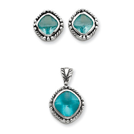 Sterling Silver Blue CZ Pendant & Earring Set. Price: $52.04