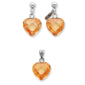 Sterling Silver Champagne CZ Heart Earring & Pendant Set. Price: $48.54