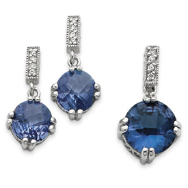 Sterling Silver Blue & Clear CZ Pendant & Earring Set. Price: $88.64