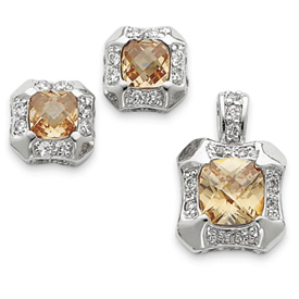 Sterling Silver Champagne & Clear CZ Pendant & Earring Set. Price: $67.94