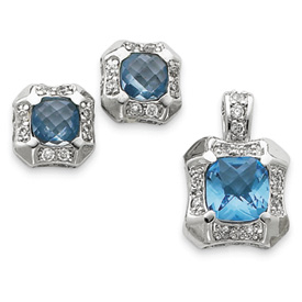 Sterling Silver Blue & Clear CZ Pendant & Earring Set. Price: $67.40