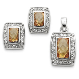 Sterling Silver Champagne & Clear CZ Pendant & Earring Set. Price: $73.24