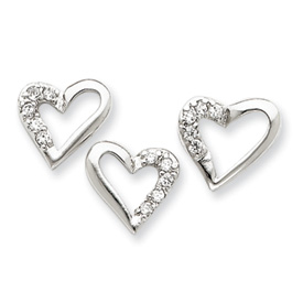Sterling Silver CZ Heart Pendant & Earring Set. Price: $20.34