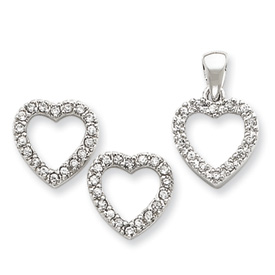 Sterling Silver CZ Heart Pendant & Earring Set. Price: $43.68