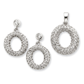 Sterling Silver CZ Circle Pendant & Earring Set. Price: $84.94