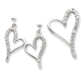 Sterling Silver CZ Heart Earring & Pendant Set. Price: $58.58