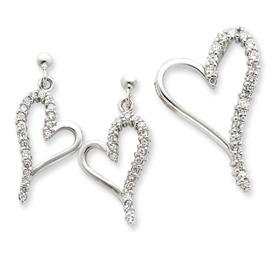 Sterling Silver CZ Heart Earring & Pendant Set. Price: $58.58