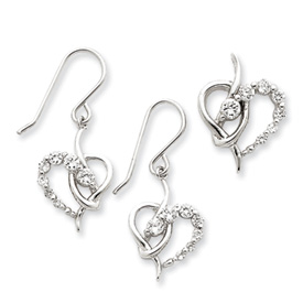 Sterling Silver CZ Heart Earring & Pendant Set. Price: $50.84