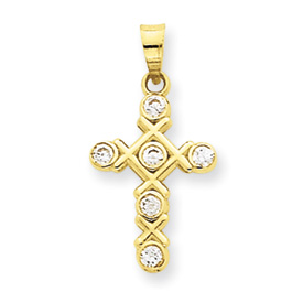 14K Gold Cubic Zirconia Cross Pendant. Price: $68.74
