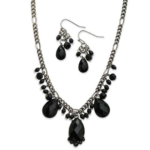 "Black-Plated Jet Briolette Crystal Earrings & 16"" Necklace Set. Price: $28.98"