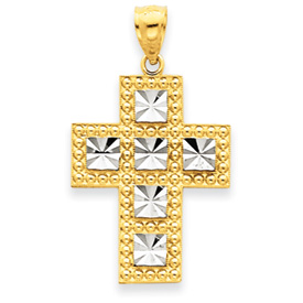 14K Gold  & Rhodium Cross Pendant. Price: $135.84