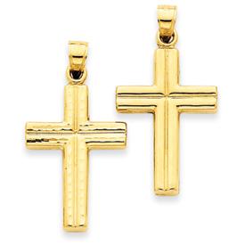 14K Gold  Reversible Diamond Cut Cross Pendant. Price: $102.46