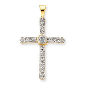 14K Gold & Rhodium Diamond Cross Pendant. Price: $258.90