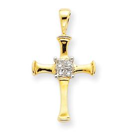 14K Gold Diamond Cross Pendant. Price: $187.20