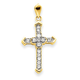 14K Gold Diamond Passion Cross Pendant. Price: $389.26