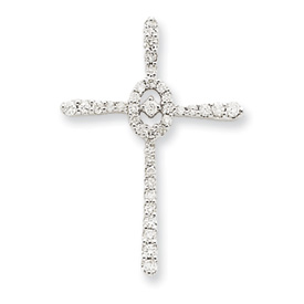 14K  White Gold Diamond Cross Pendant. Price: $494.67