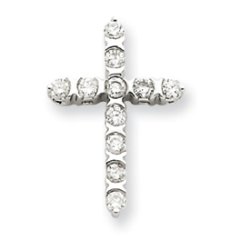 14K  White Gold Diamond Cross Pendant. Price: $344.70