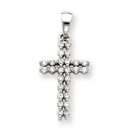 14K  White Gold Diamond Cross Pendant. Price: $305.70