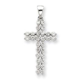 14K  White Gold Diamond Cross Pendant. Price: $494.26