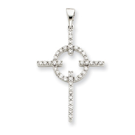 14K  White Gold Diamond Cross Pendant. Price: $398.38