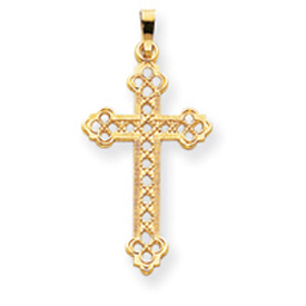 14K Gold Budded Cross Pendant. Price: $170.50