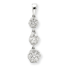 14K White Gold Fancy 3-Stone Diamond Pendant. Price: $629.87