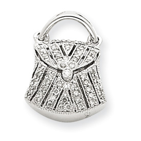 14K  White Gold Hollow  Quality Completed 3-Dimensional Handbag Pendant. Price: $379.05