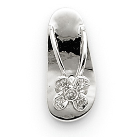 14K  White Gold Diamond Sandal Pendant. Price: $144.94