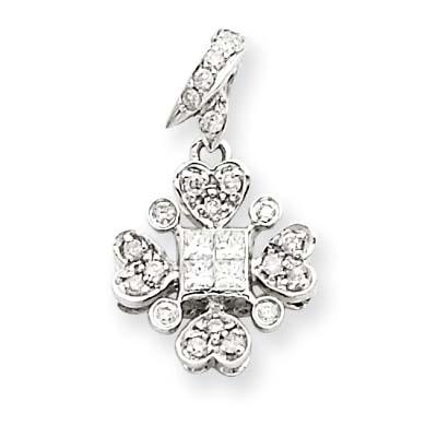 14K  White Gold Vintage Diamond Pendant. Price: $383.32