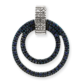 14K  White Gold Diamond & Sapphire Circle Pendant. Price: $494.84
