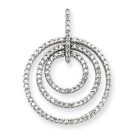 14K  White Gold Triple Circle Diamond Pendant. Price: $769.79