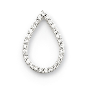14K  White Gold Diamond Teardrop Pendant. Price: $347.32