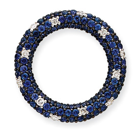 14K  White Gold  Diamond And Sapphire Circle Pendant. Price: $915.50