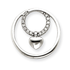 14K  White Gold Diamond Circle Heart Pendant. Price: $332.82