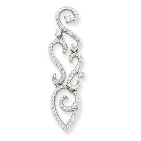 14K  White Gold Diamond Swirl Pendant. Price: $683.79
