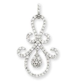 14K  White Gold Fancy Diamond Pendant. Price: $1032.55