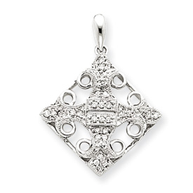 14K  White Gold Diamond Fleur-de-lis Pendant. Price: $311.50