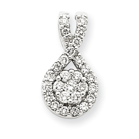 14K  White Gold Diamond Teardrop Pendant. Price: $628.37