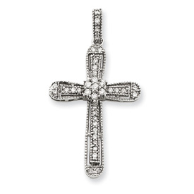 14K  White Gold Diamond Cross Pendant. Price: $427.89
