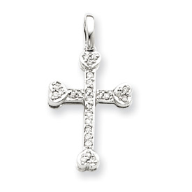 14K  White Gold Diamond Cross Pendant. Price: $234.22