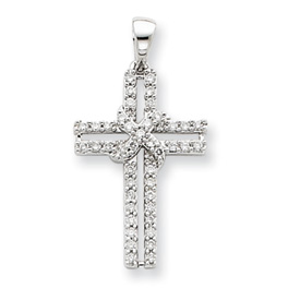 14K  White Gold Diamond Cross Pendant. Price: $412.93
