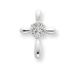 14K  White Gold Diamond Cross Pendant. Price: $193.88