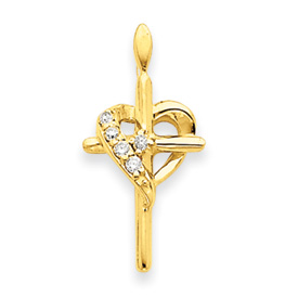14K Gold Diamond Cross Pendant. Price: $235.70