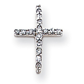 14K White Gold Diamond Latin Cross Pendant. Price: $221.84