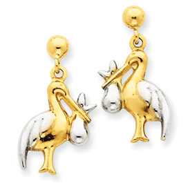 14K Gold & Rhodium Stork Dangle Post Earrings. Price: $129.62
