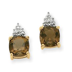 14K Gold Smokey Topaz & Diamond Post Earrings. Price: $178.44