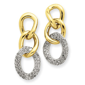 14K  Two-Tone Gold Diamond Drop Earrings. Price: $888.78