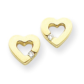 14K Gold AA Diamond Heart Earring. Price: $235.16