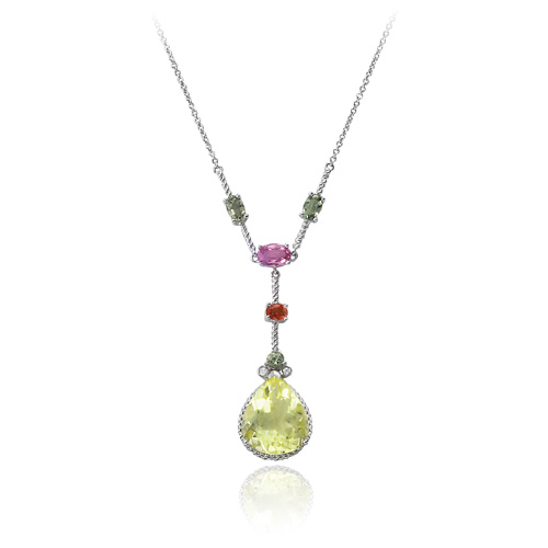 14K White Gold  Multi Color Sapphire, Lemon Quartz & Diamond  Necklace